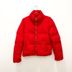 RED PUFFER COAT JACQULINE DE YOUNG SIZE LARGE